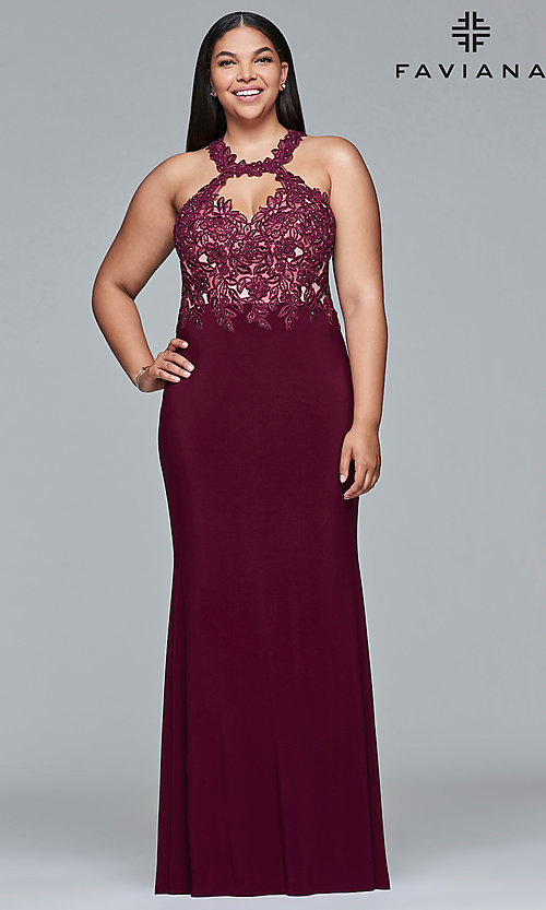 Image of Faviana plus-size embroidered-bodice prom dress. Style: FA-9394 Detail Image 2