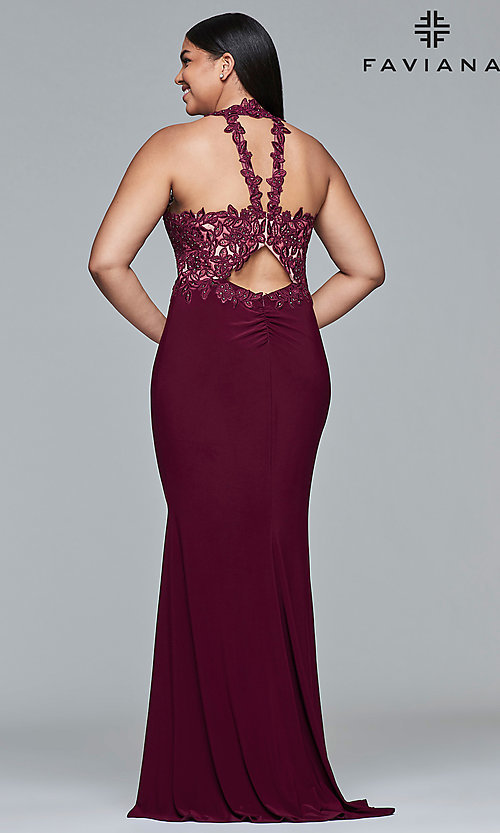 Image of Faviana plus-size embroidered-bodice prom dress. Style: FA-9394 Detail Image 3
