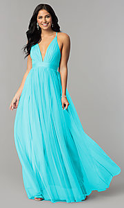 Image of long sexy prom dress with deep v-neckline. Style: LUX-LD3449 Detail Image 1