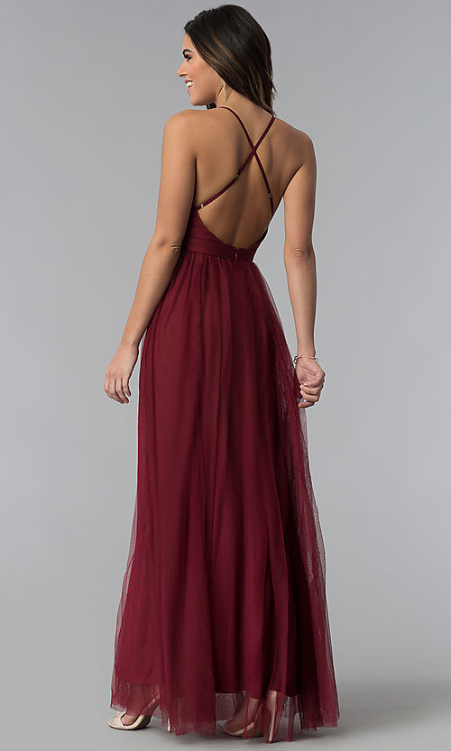 Image of long sexy prom dress with deep v-neckline. Style: LUX-LD3449 Back Image