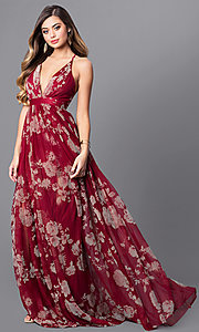 Image of floral-print v-neck long prom dress with empire waist. Style: LUX-LD3450 Front Image