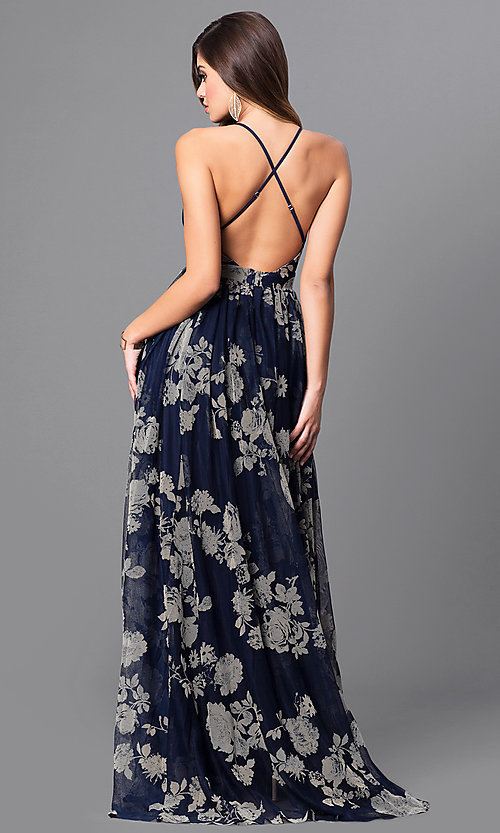 Image of floral-print v-neck long prom dress with empire waist. Style: LUX-LD3450 Back Image
