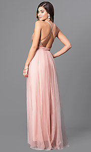 Image of long v-neck tulle prom dress with empire waist. Style: LUX-LD3455 Back Image