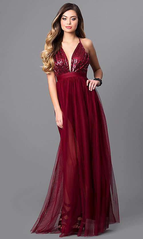 Image of long v-neck tulle prom dress with empire waist. Style: LUX-LD3455 Front Image
