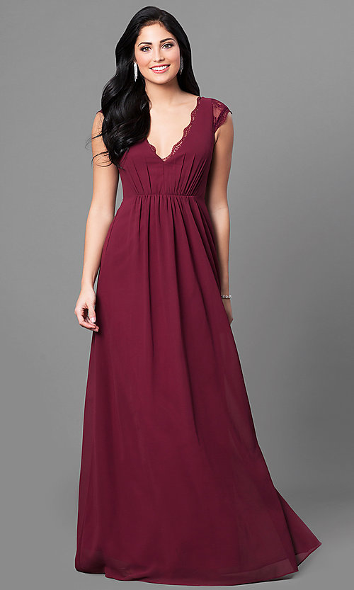 Cap-Sleeve Long Prom Dress with V-Neck and Lace