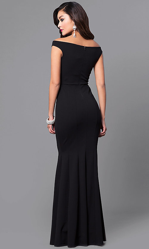 Image of black off-the-shoulder long mermaid prom dress. Style: SY-ID4188VP Back Image