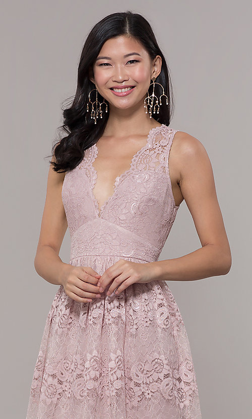 Image of a-line v-neck long lace prom dress with empire waist. Style: LP-24221 Detail Image 1