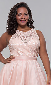 Image of plus-size high-low prom dress with illusion lace. Style: LP-24048P Detail Image 1