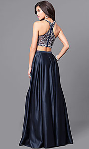 Image of navy two-piece satin long prom dress with pockets. Style: DQ-9832 Back Image