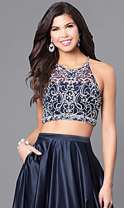 Image of navy two-piece satin long prom dress with pockets. Style: DQ-9832 Detail Image 1