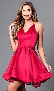 Image of short v-neck prom dress with lace-back bodice. Style: DQ-9836 Front Image