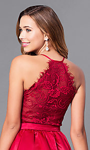 Image of short v-neck prom dress with lace-back bodice. Style: DQ-9836 Detail Image 2