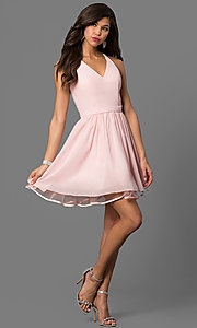 Image of short blush pink party dress with lace back. Style: DQ-9837 Detail Image 1