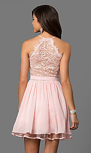 Image of short blush pink party dress with lace back. Style: DQ-9837 Back Image