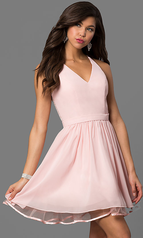 Image of short blush pink party dress with lace back. Style: DQ-9837 Front Image