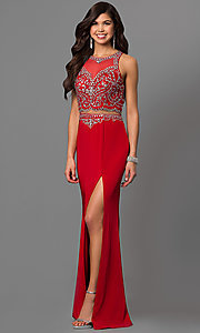 Image of mock two-piece prom dress with embellished bodice. Style: DQ-9700 Front Image