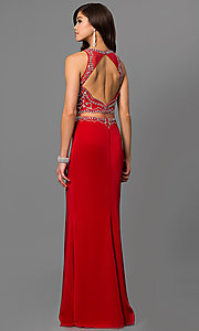 Image of mock two-piece prom dress with embellished bodice. Style: DQ-9700 Back Image
