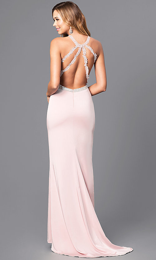 Image of lace illusion bodice long prom dress with high neck. Style: DQ-9702 Back Image