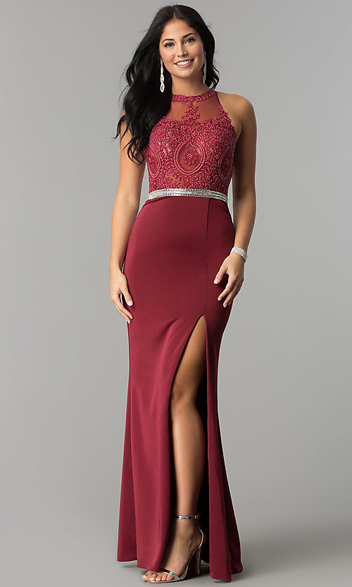 Image of lace illusion bodice long prom dress with high neck. Style: DQ-9702 Detail Image 2