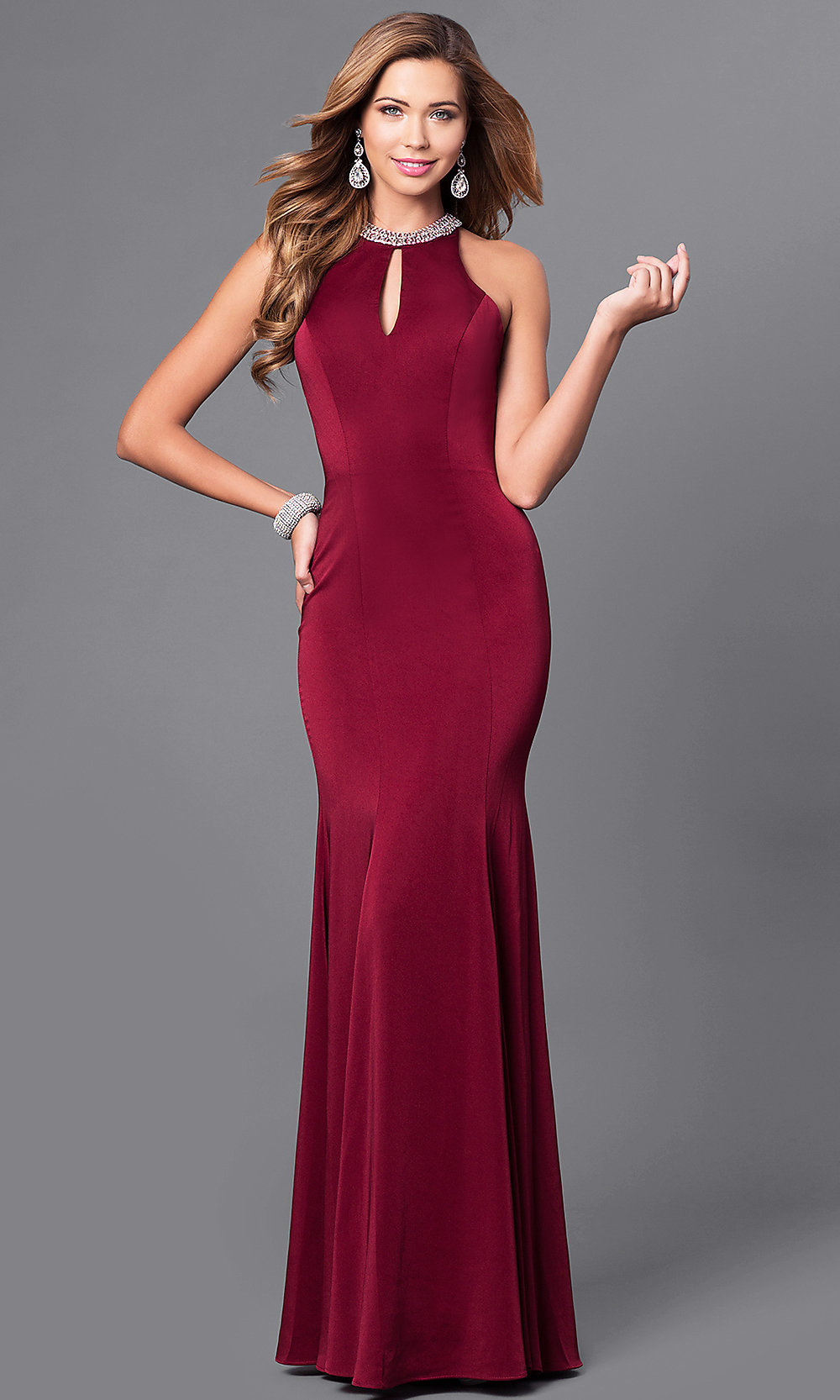 Jeweled Neckline Long Mermaid Prom Dress - PromGirl