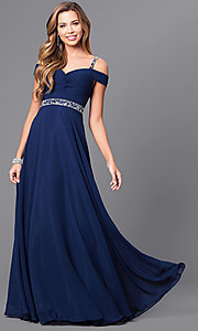 Image of cold-shoulder long prom dress with corset. Style: DQ-9718 Front Image