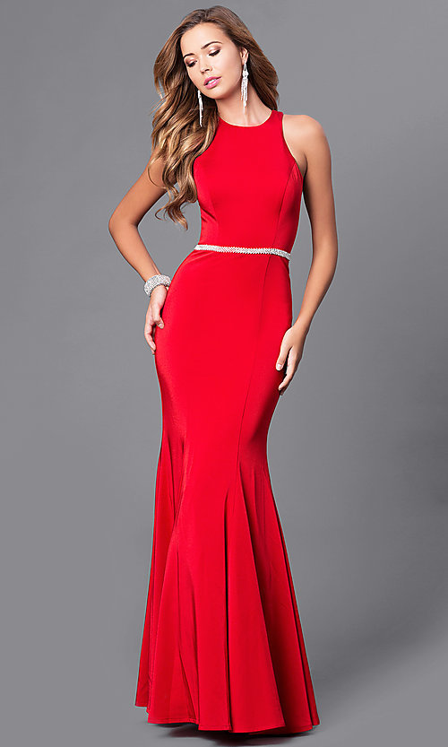 Image of long mermaid prom dress with racerback. Style: DQ-9757 Detail Image 3