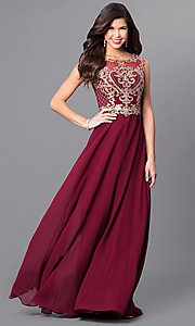 Image of long prom dress with lace appliques by Elizabeth K. Style: FB-GL2316 Front Image