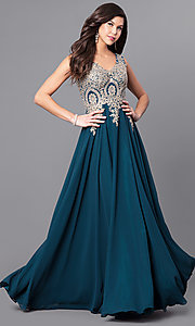 Image of long v-neck prom dress with beaded lace applique. Style: FB-GL2311 Front Image