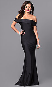 Image of long off-the-shoulder Atria prom dress with train. Style: AT-L5080 Detail Image 1