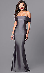 Image of long off-the-shoulder Atria prom dress with train. Style: AT-L5080 Detail Image 2