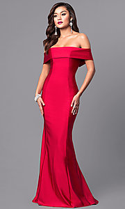 Image of long off-the-shoulder Atria prom dress with train. Style: AT-L5080 Front Image