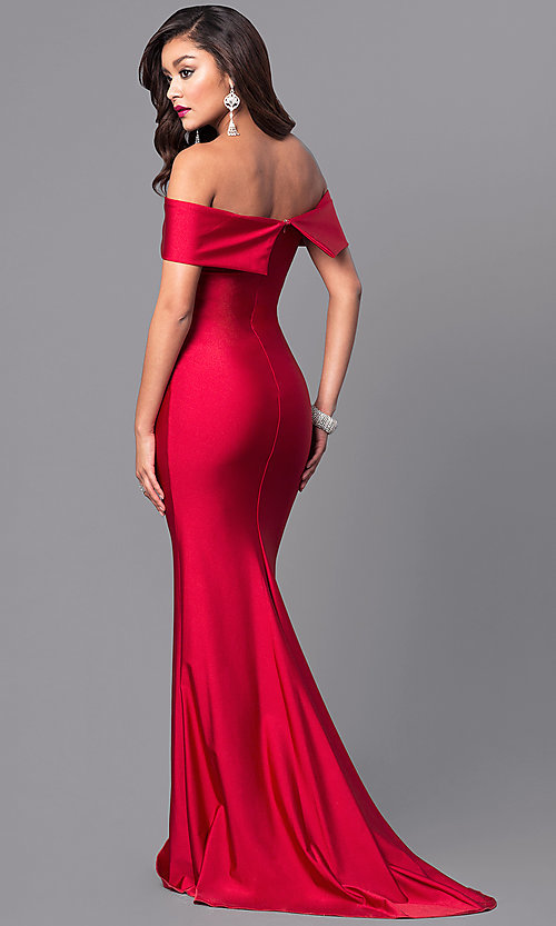 Image of long off-the-shoulder Atria prom dress with train. Style: AT-L5080 Back Image