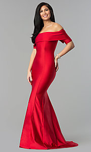 Image of long off-the-shoulder prom dress with train. Style: AT-L5081 Front Image