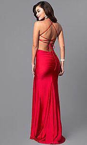 Image of high-neck long Atria prom dress with open back. Style: AT-L5067 Back Image