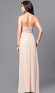 Image of gold sequin-print bodice prom dress with pockets. Style: BJ-1705 Back Image