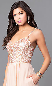 Image of gold sequin-print bodice prom dress with pockets. Style: BJ-1705 Detail Image 1