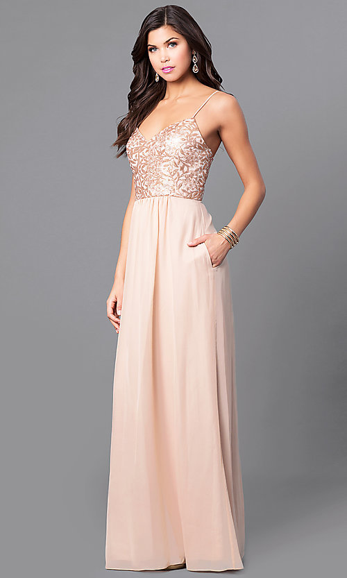 Image of gold sequin-print bodice prom dress with pockets. Style: BJ-1705 Front Image