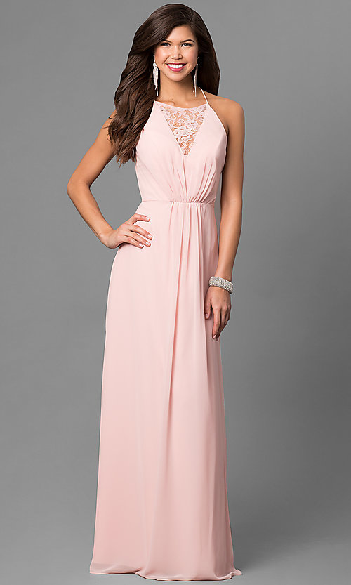 Image of long chiffon prom dress with lace v-neck inset. Style: BJ-1708 Front Image