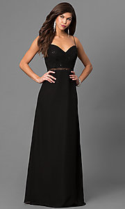 Image of long black prom dress with sequin sweetheart bodice. Style: BJ-1710 Front Image