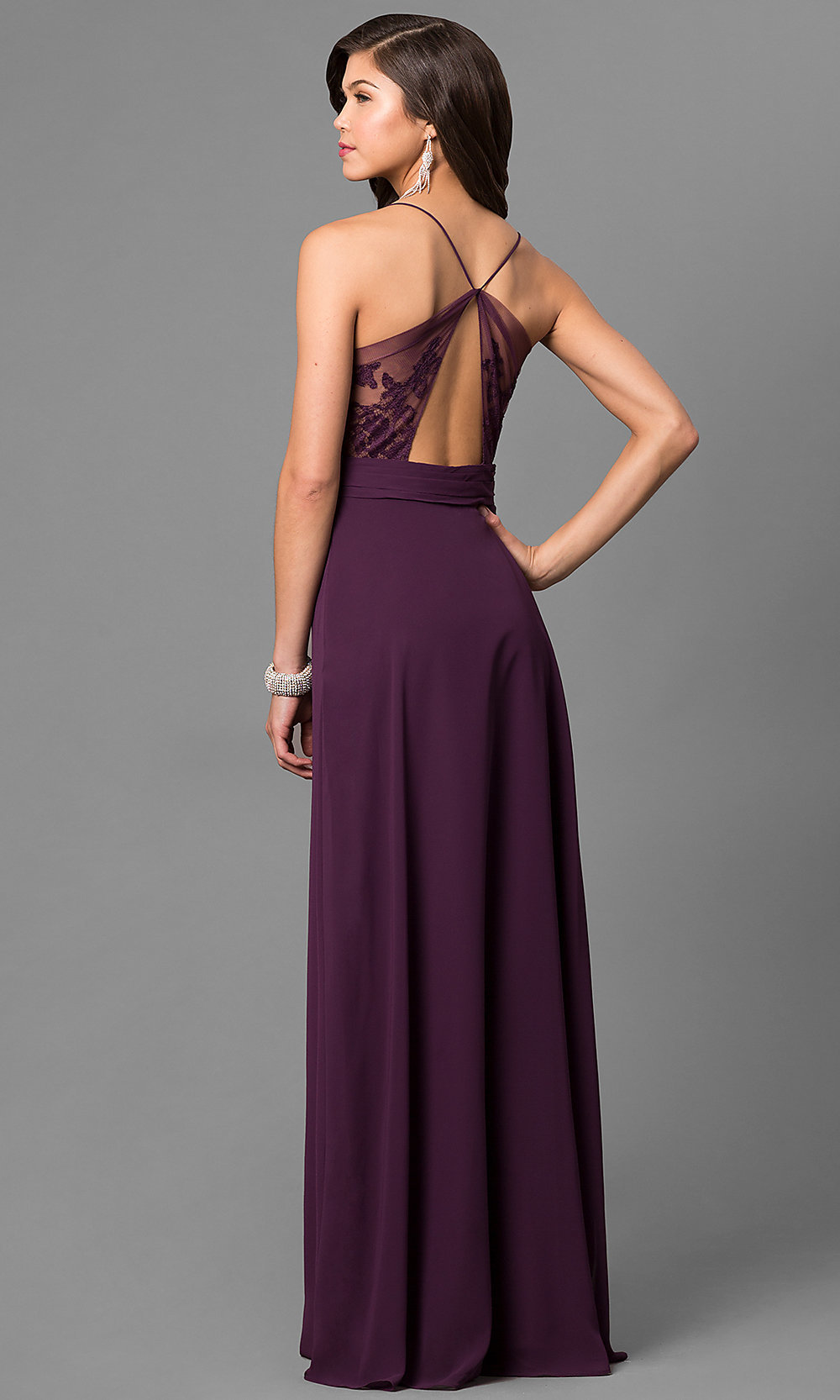 Eggplant Purple Long Prom Dress With V Neck Promgirl