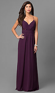 Image of long eggplant purple prom dress with lace back. Style: BJ-1724 Front Image