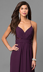 Image of long eggplant purple prom dress with lace back. Style: BJ-1724 Detail Image 2