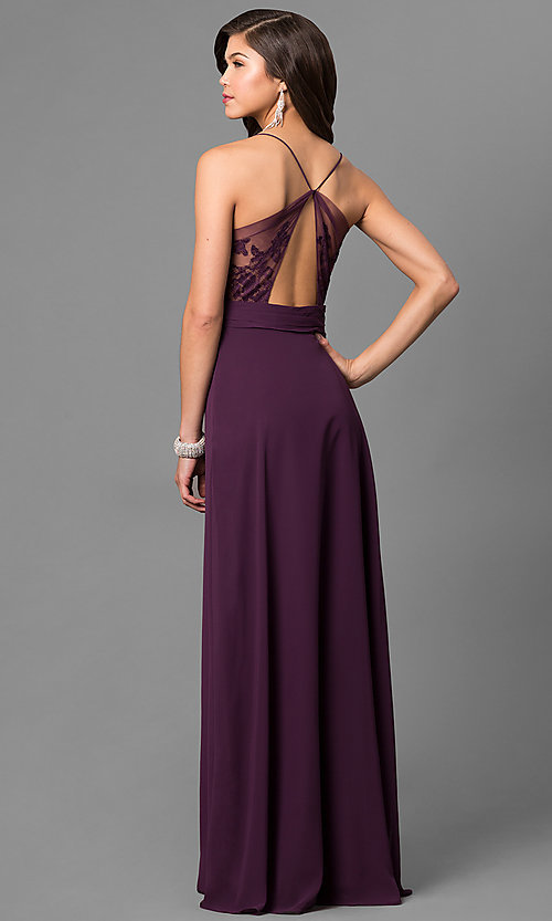 Image of long eggplant purple prom dress with lace back. Style: BJ-1724 Back Image