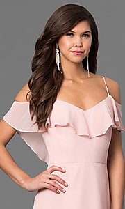Image of cold-shoulder long chiffon prom dress in blush pink. Style: BJ-1730 Detail Image 1