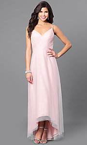 Image of high-low blush pink prom dress with ruched v-neck. Style: BJ-EN-1714 Front Image
