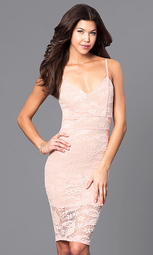 Image of lace v-neck short party dress with adjustable straps. Style: DC-44495 Front Image