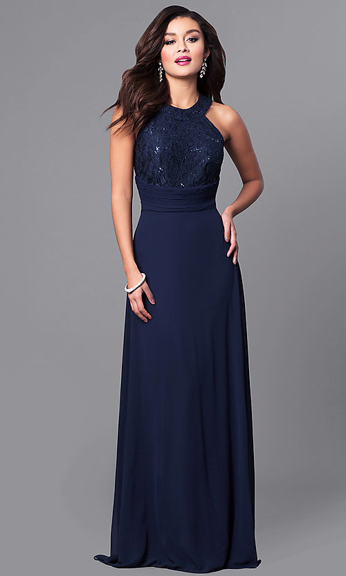 Navy High-Neck Long Prom Dress with Lace Bodice