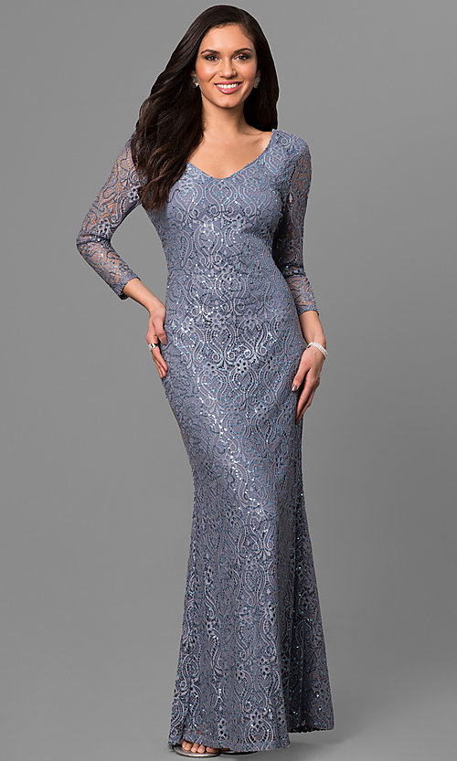 Long Lace 3/4 Sleeve V-Neck Mother-of-the-Bride Dress