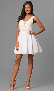 Image of short a-line white party dress with lace bodice.  Style: DMO-J316857 Detail Image 1