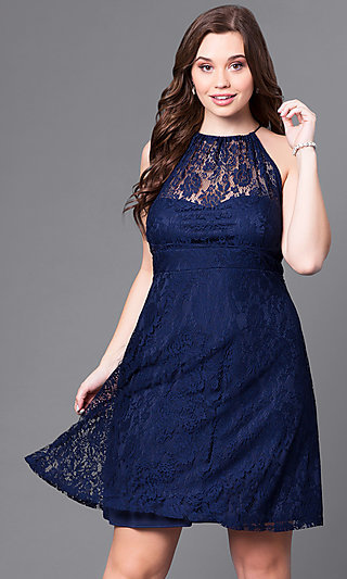 Plus-Size Knee-Length Party Dress in Navy Lace